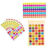 10 Sheets 760PCS WenderGo Happy Face Reward Colorful and Smiley Stars Stickers Teacher Parents Incentive DIY Mobile Phone Book Decoration