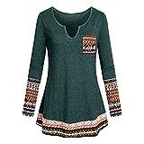 OverDose Damen Herbst Winter Daily Style Damen V-Ausschnitt Langarm Boho Patchwork Elegantes Tunika-Shirt mit Taschenbluse Langarmshirts Pullover Outwear(Grün,36 DE/M CN )
