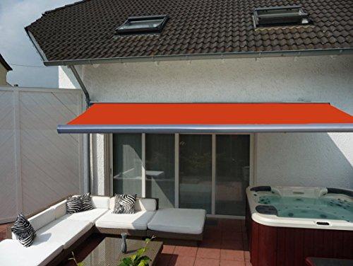 Prime Tech Elektrische Kassettenmarkise / Gelenkarm-Markise 400 x 300 cm / Gehäuse anthrazit-grau / Tuch orange - rot / #580