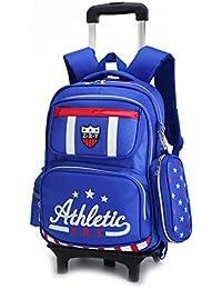 Sac à dos à roulettes - Durable Rolling Daypack Trolley Sac à dos Sac d'école élégant Daypack pour les élèves du primaire (2 roues) QGbLuhSx