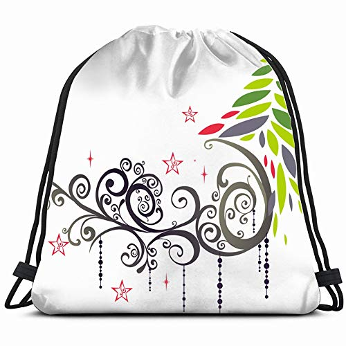 fjfjfdjk Graphic Christmas The Arts Backdrop Holidays Drawstring Backpack Gym Sack Lightweight Bag Water Resistant Gym Backpack for Women&Men for Sports,Travelling,Hiking,Camping,Shopping Yoga -