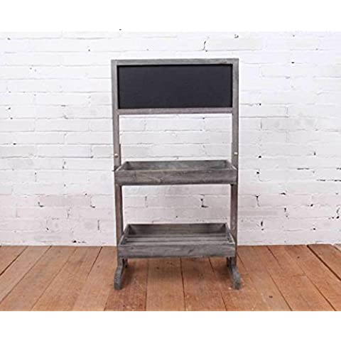 New day-El estante de dos pisos rural racks de la pizarra de la pared de la lona de la decoración de la pared hace compras la publicidad 43 * 22 * ??78CM , wood color , 43*22*78cm