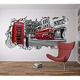 Papel Pintado Efecto 3D (87 x 48 cm, Vinilo Adhesivo Londres 3D Decoración Pared)