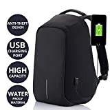 #8: MiTKiN Multi Functional Anti Theft Waterproof Laptop Bag Casual Backpack Linen Metirial Bag with USB Charging Point (PURPLE) (Black)