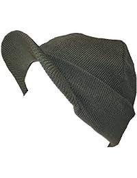Mens Knitted Beanie Hat with Peak GL221 (Khaki Green)