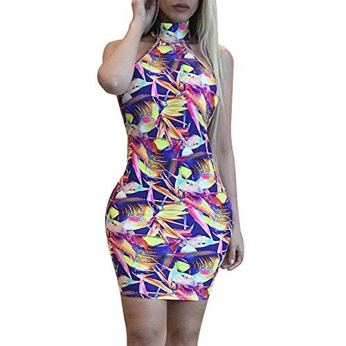Besde Sexy Frauen Floral ärmellose Tiefer V-Ausschnitt Clubwear Party Kleid Figurbetont Kleid Large violett