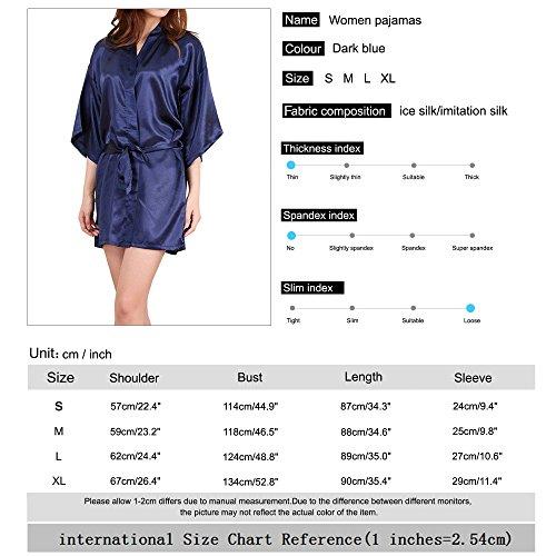 SiDiOU Group Nacht Robe Damen Kimono Morgenmantel Satin Kimono Robe Kurz Bademantel Frauen Schlafanzug Nachtwäsche Satin Nachthemd Eis Seide Style 2-Dunkelblau