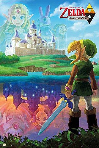 Nintendo Legend of Zelda Poster A Link Between Worlds (61cm x 91,5cm) + 2 St. Schwarze Posterleisten mit Aufhängung