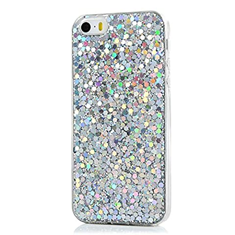 We Love Case for iPhone 5 5S SE Case, Premium Ultra Slim Thin Silicone Flexible TPU Soft Pattern Design Cute Clear Cover, Gel Plastic Protective Shock Absorption Proof Drop Defend Anti Scratch Shell for iPhone 5 5S SE - Silver