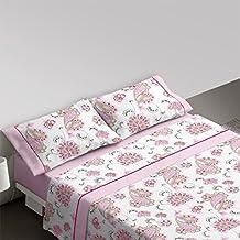 Burrito Blanco Juego de sábanas 692 Rosa de cama de 150x190/200 cm
