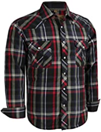 33eb4854f Coevals Club Men's Long Sleeve Casual Western Plaid Snap Buttons Shirt