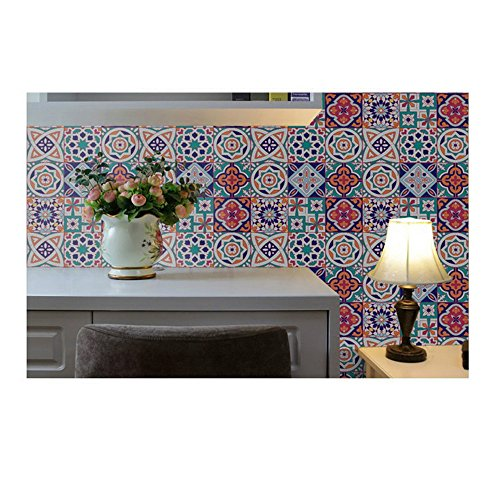 Moroccan Bohemian Style Peel and Stick Mosaic Tile Wallpaper Geometry Wall Sticker Floor Sticker Waterproof DIY Floor Tile 7.8 x 197 inches