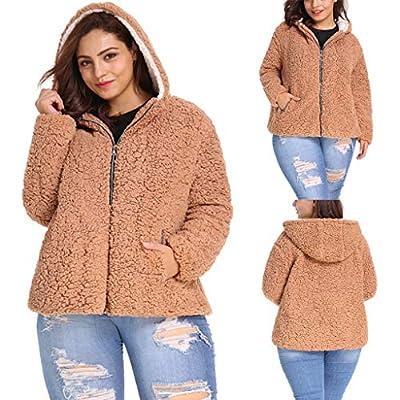 SoonerQuicker Sweatshirts Kapuzenpullover Streetwear for Frauen Lesiure Plus Size Pure Color Reißverschlusstasche mit Kapuze Plüsch Kurzmantel