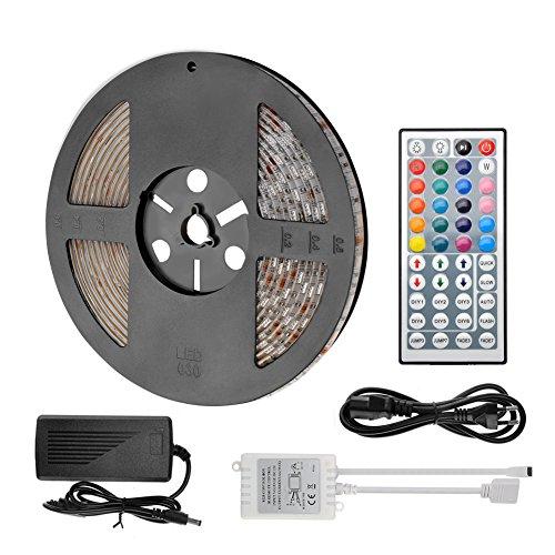LED Strip 5m Streifen mit Fernbedienung RGB LED 5050 SMD selbstklebend dimmbar verlängerbar schneidbar mit Gedächtnis, mit Netzteil Trafo und Umwandler komplettset, 10mm Breite