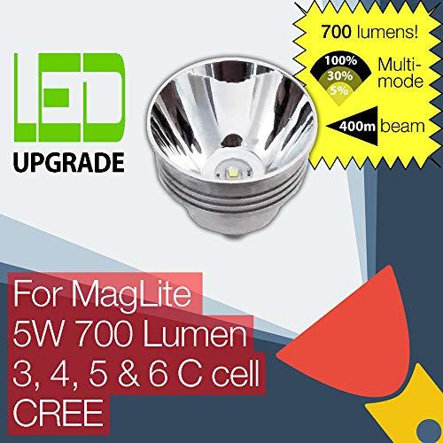 MagLite LED-Leuchtmittel für MagLite Taschenlampe/Taschenlampe, 700 lm, hohe Leistung, 3C, 4C, 5C, 6C Cell CREE 3 Cell White Star