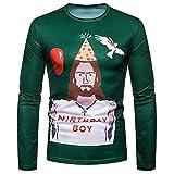 SEWORLD Weihnachten Christmas Herren Abend Party Männer Weihnachtskostüm Sankt Drucken Urlaub Humor Langarm T-Shirt Xmas Top(X1-3-grün2,EU-48/CN-M)