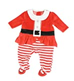 Festive Christmas Winter Baby Girls Boys Romper Sleeper All in One Mrs Santa Claus Outfit 0-3 Months