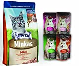Topping - Nassfutter 4x85gr. Leonardo Cat Food + Happy Cat Minkas Geflügel 10 kg