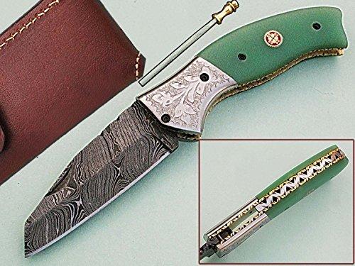 faite à la main 18 cm Awesome couteau de poche pliant des véritables Acier de Damas avec manche G10 Matière Mitres et gravée : (Bdm-80) (Legal au transport)