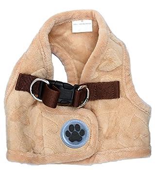 Joli gilet en polaire chaude avec harnais pour animal domestique avec imprimé motif c½urs pour petits chiens, chats ou chatons, taille S beige