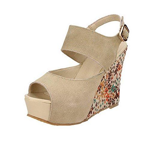 AllhqFashion Damen Mittler Absatz Mattglasbirne Blockabsatz Schnalle Stiefel, Aprikosen Farbe, 35
