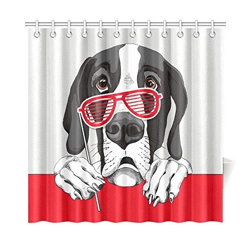 JOCHUAN Wohnkultur Bad Vorhang Dogge Hund Rot Grill Gläser Polyester Stoff Wasserdicht Duschvorhang Für Badezimmer, 72X72 Zoll Duschvorhang Haken - Dogge Und Baby Kostüm