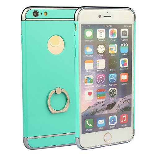 """xhorizon MSH 3 en 1 Coque pour iPhone 6 Plus/ iPhone 6S Plus [5.5""""]ultra-fin élégant Coque de Protection dur avec bague béquille 360 degré rotation avec 9H film de protection en verre trempé Mint Green"""