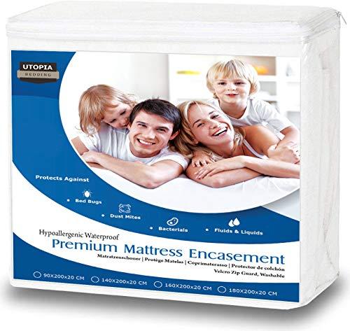 Utopia Bedding Funda de colchón Impermeable con Cremallera - Altura del colchón 15-25 cm - Protección...