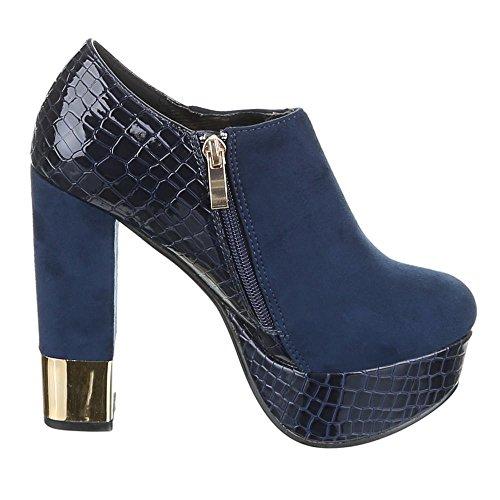 Damen Schuhe, GH32-24, ANKLE BOOTS PUMPS Blau