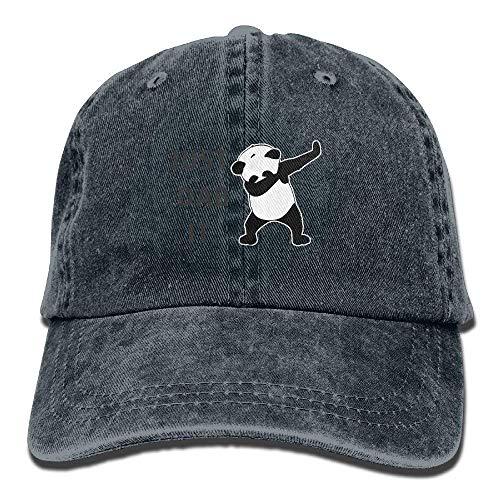 Just Dab It Dabbing Panda Vintage Washed Dyed Cotton Twill Low Profile Adjustable Baseball Cap Natural cap design - Pro Style Cotton Twill Cap
