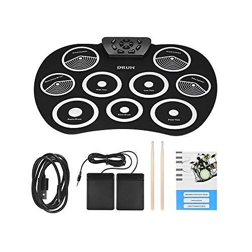 Tragbare elektronische Trommel Set Roll Up Drum Kit 9 Silicon Pads USB mit Fuß Pedale Drumsticks USB-Kabel für Studenten Kinder (Farbe: schwarz + weiß)