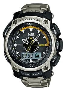 Reloj de caballero CASIO Pro Trek PRW-5000T-7ER de cuarzo, correa de titanio color plata de Casio