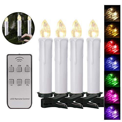 40er Weinachten LED Kerzen Kabellos RGB Weihnachtskerzen Christbaumkerzen Dimmen Flackern Baumkerze-Set,LED-Lichtfarbe RGB + warmweiß