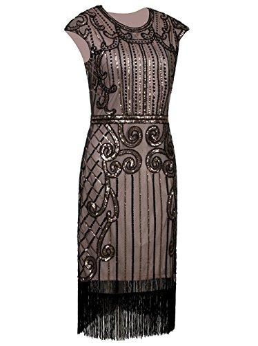 Vikoros Damen Cocktail Kleid, Paisley Gr. 36, Schwarz / (Plus Dress 80s Size Fancy)