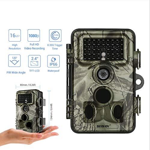Space element Wildkamera Nachtsicht-bewegungsaktivierte 16-MP-Rückfahrkamera mit IP66 wasserdichter, Nicht leuchtender IR-LED 0,2 s Auslösegeschwindigkeit 2,4-Zoll-LCD-Display-Speicherkarte (Element Lcd)