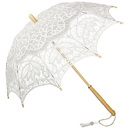 Sonnenschirm Kostüm - VON LILIENFELD Spitzenschirm Damen Sonnenschirm Brautschirm Hochzeitsschirm Vivienne Verspielte Troddelquaste weiß