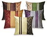 #8: Zikrak Exim Set of 5 Multi Polyester Stripy Cushion Covers 30X30 cm (12X12 inches)
