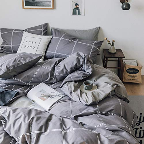 Yunjie set copripiumino,copripiumino cotone lavato con cerniera nascosta confortevole, materiale morbido e traspirante stile semplice hotel quality-d 220x240cm(87x94inch)