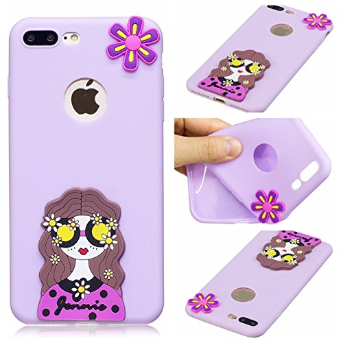 Cover iPhone 7 Plus, Voguecase Custodia Silicone Morbido Flessibile TPU Custodia Case Cover Protettivo Skin Caso Per Apple iPhone 7 Plus 5.5(Macchia-Anguria 06) Con Stilo Penna Caramella Silicone-Occhiali ragazza