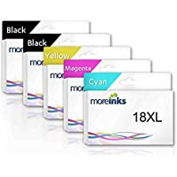 5 x Moreinks Black + Colour Compatible Printer Ink Cartridges to Replace Epson T1811 / T18XL / T1812 / T1813 / T1814 / T1816 (Black, Cyan, Magenta, Yellow)