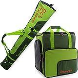 BRUBAKER Kombi Set Carver Pro - Limited Edition - Skisack und Skischuhtasche für 1 Paar Ski 170 cm oder 190 cm + Stöcke + Schuhe + Helm Dunkelgrün Grün