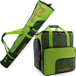 Brubaker Kombi Set Carver Pro – Limited Edition – Skisack und Skischuhtasche für 1 Paar Ski 170 cm oder 190 cm + Stöcke + Schuhe + Helm Dunkelgrün Grün