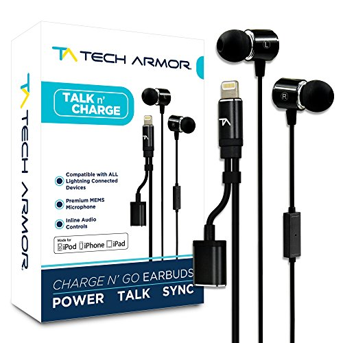 Tech Armor [Apple MFi Certified 8-pin Lightning Earbuds w/Extra Charge Port, Inline Microphone for Apple iPhone/iPad - Charge Base Ipad Air