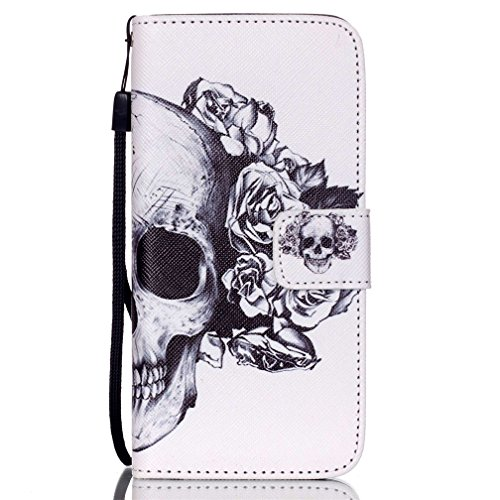 KATUMO® Hülle für Apple iPhone 6/6S Plus, Flip Cover Premium Ultra Thin PU Leder Wallet Case iPhone 6 Plus Handy Tasche Brieftasche Schale mit Kartenfächern und Standfunktion,Schiefer Turm Schädel Rose