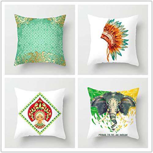 KYLong Artículos Indios del hogar de la Piel del melocotón de la Funda de Almohada del Amortiguador de la Almohada del sofá del Coche de la impresión, k8