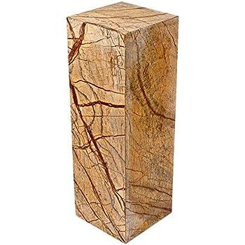 Säule aus 100% hochwertigem indischen Marmor, sehr stabil, als Sockel für Skulptur, Büste, Vasen, oder Galeriesockel oder als Blumensäule, als Dekosäule und Schmucksäule, Schlicht, klassische Optik, Standfest, ideal für Wohnraum, Terrasse, Balkon oder Garten, H/B/L: 60x20x20 cm; Gewicht: 25 KG