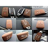 QUALITY SILICONE 5 BUTTON SMART KEYLESS FOB PROTECTOR CASE JAGUAR XK XF SE XFR (CHOCOLATE BROWN)