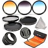 K&F Concept 58mm Filtri ND2 ND4 ND8 Graduale Colore Blu,arancia,Grigio + Petal paraluce + Centro Pinch copriobiettivo + Panno di Pulizia + 3-slot Filtri Custodia/Borsa/Caso/Carry bag/Case per Nikon D5300 D5200 D5100 D3300 D3200 D3100 DSLR Camera