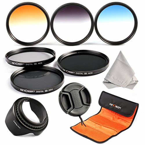 K&F Concept® Objektiv Filterset 58mm ND Filter Set 58mm ND2 ND4 ND8 Filter 58mm Verlaufsfilter Set Grau Orange Blau mit Gegenlichtblende 58mm Objektivdeckel Reinigungstuch und Filtertasche für Canon und Nikon DSLR Kamera