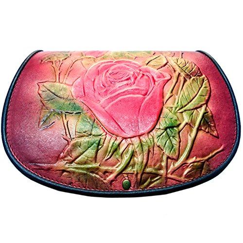 kōson Leder geformte Rose Lila Pink Rot handgefertigt Umhängetasche Handtasche Messenger Bag